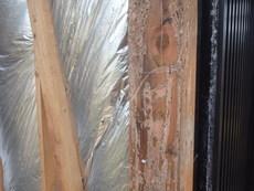 山口市宮野上にて一部ヤマトシロアリ駆除、全体の予防工事。サイディング撤去時にわかった被害。