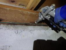 防府市敷山町にて白蟻予防工事。倉庫にはヤマトシロアリの被害が。
