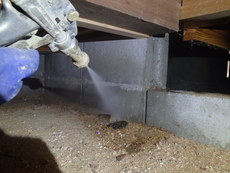 山口市鋳銭司にてリフォーム物件の白蟻予防工事。